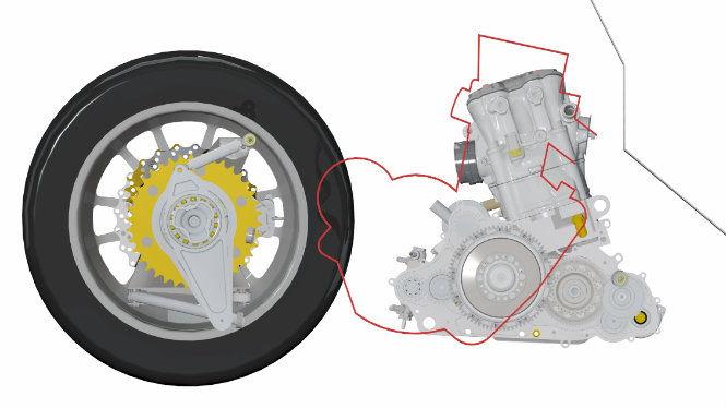 A motor elrendezésénél figyelni kell arra, hogy minél alacsonyabban legyen a tömegközéppont, de a motor nem ütközhet más elemekkel