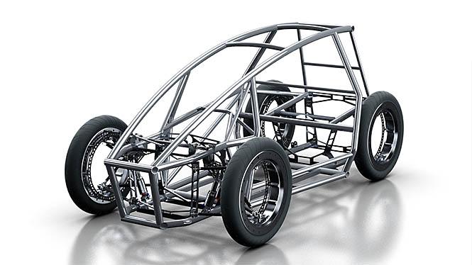 BME Paradicsom csapat. A különleges, küllő nélküli agymotor és a jármű tervei Creo-ban készültek.